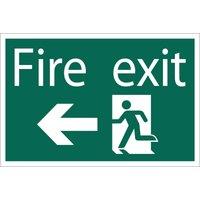 Draper Fire Exit Arrow Left Sign 200mm 300mm Standard
