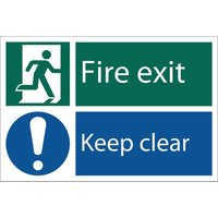 Draper Fire Exit Keep Clear Sign 200mm 300mm Standard