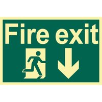Draper Fire Exit Arrow Down Sign 200mm 300mm Photoluminescent