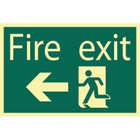 Draper Fire Exit Arrow Left Sign 200mm 300mm Photoluminescent