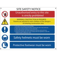 Draper Site Safety Notice Sign 800mm 600mm Standard
