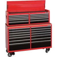 Draper 24 Drawer Tool Roller Cabinet & Top Chest Combination Red