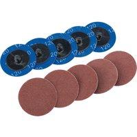 Draper 50mm Diameter Aluminium Oxide Sanding Disc 50mm 120g Pack of 10
