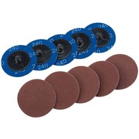 Draper 50mm Diameter Aluminium Oxide Sanding Disc 50mm 240g Pack of 10
