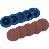 Draper 50mm Diameter Aluminium Oxide Sanding Disc 50mm 320g Pack of 10