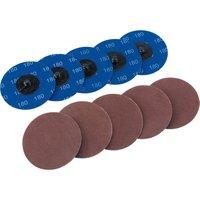 Draper 50mm Diameter Aluminium Oxide Sanding Disc 75mm 180g Pack of 10