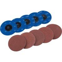 Draper 50mm Diameter Aluminium Oxide Sanding Disc 75mm Assorted Pack of 10