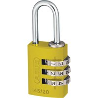 Abus 145 Series Aluminium Combination Padlock 20mm Yellow Standard
