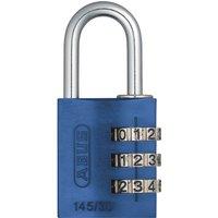 Abus 145 Series Aluminium Combination Padlock 30mm Blue Standard