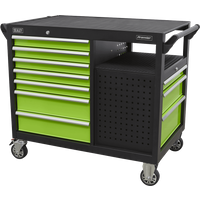 Sealey 10 Drawer Tool Roller Cabinet and Workstation Black / Green