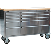 Sealey 10 Drawer Mobile Stainless Steel Tool Cabinet Stainless Steel