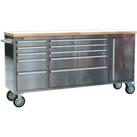 Sealey 10 Drawer Mobile Stainless Steel Tool Cabinet and End Cupboard Stainless Steel