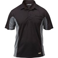 Apache Mens Dry Max Polo Shirt Black / Grey 2XL