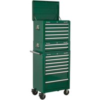 Sealey Superline Pro 14 Drawer Roller Cabinet, Mid Box & Top Tool Chest Green