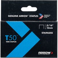 Arrow T50 Stainless Steel Staples 8mm Pack of 1000