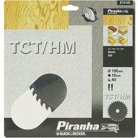 Black and Decker Piranha TCT Fine Cross Cutting Circular Saw Blade 190mm 40T 16mm