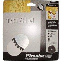 Black and Decker Piranha TCT Fine Cross Cutting Circular Saw Blade 160mm 40T 20mm