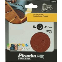 Black and Decker Piranha Quick Fit ROS Sanding Discs 115mm 115mm 240g Pack of 5