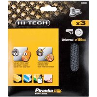 Black and Decker Piranha Hi Tech Quick Fit Mesh ROS Sanding Sheets 150mm 150mm Assorted Pack of 3