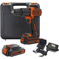 Black & Decker BCD700S 18v Cordless Combi Drill 2 x 1.5ah Li-ion Charger Case