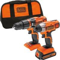 Black & Decker BDCHIM18B 18v Cordless Combi Drill & Impact Driver 1 x 1.5ah Li-ion Charger Bag