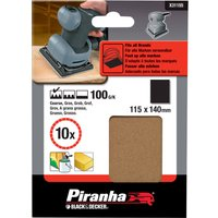 Black and Decker Piranha 1 4 Sanding Sheets 100g Pack of 10