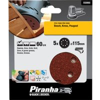 Black and Decker Piranha Quick Fit ROS Sanding Discs 115mm 115mm 60g Pack of 5