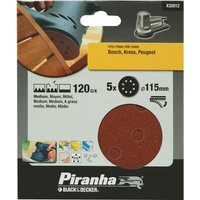 Black and Decker Piranha Quick Fit ROS Sanding Discs 115mm 115mm 120g Pack of 5
