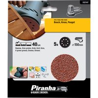 Black and Decker Piranha Quick Fit ROS Sanding Discs 115mm 115mm 40g Pack of 5