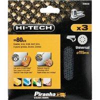 Black and Decker Piranha Hi Tech Quick Fit Mesh ROS Sanding Sheets 115mm 115mm 80g Pack of 3