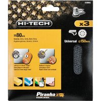 Black and Decker Piranha Hi Tech Quick Fit Mesh ROS Sanding Sheets 150mm 150mm 80g Pack of 3