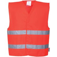 Portwest Two Band Class 2 Hi Vis Waistcoat Red 2XL / 3XL