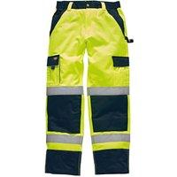 Dickies Mens Hi Vis Industry Trousers Yellow / Navy 33