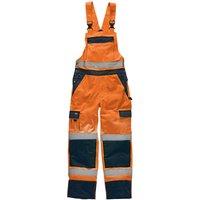 Dickies Mens High Vis Industry Bib & Brace Orange / Navy 36 32