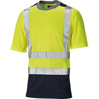 Dickies Mens High Vis T Shirt Yellow / Navy 2XL