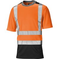 Dickies Mens High Vis T Shirt Orange / Navy 2XL