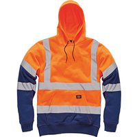 Dickies Mens High Vis Hoodie Orange / Navy 2XL