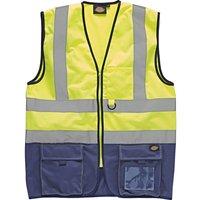 Dickies High Vis Waistcoat Yellow / Navy XL