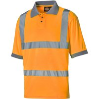 Dickies Mens High Visibility Safety Polo Shirt Orange 2XL