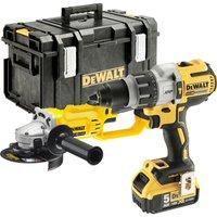 DeWalt DCK278P2 18v XR Brushless Combi Drill and Angle Grinder Kit 2 x 5ah Li-ion Charger Case