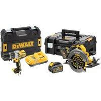DeWalt DCK2056T2T 54v Cordless XR FLEXVOLT Drill Driver & Circular Saw Kit 2 x 6ah Li-ion Charger Case