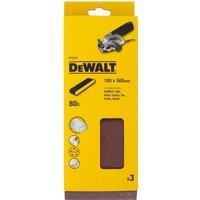DeWalt 100 x 560mm Multi Purpose Sanding Belts 100mm x 560mm 80g Pack of 3