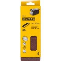 DeWalt 75 X 457mm Multi Purpose Sanding Belts 75mm x 457mm 80g Pack of 3
