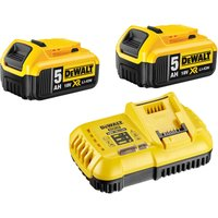DeWalt 18v XR Cordless Twin Li ion Battery and Fast Charger Pack 5ah