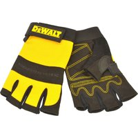 DeWalt Fingerless Synthetic Padded Leather Palm Gloves L