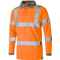 Dickies Mens High Visibility Long Sleeve Polo Shirt Orange L