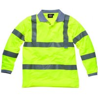 Dickies Mens High Vis Long Sleeve Polo Shirt Yellow L