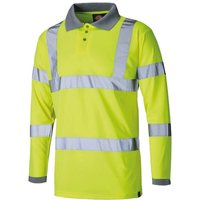 Dickies Mens High Visibility Long Sleeve Polo Shirt Yellow 3XL