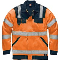 Dickies Mens High Vis Industry Jacket Orange / Navy XL