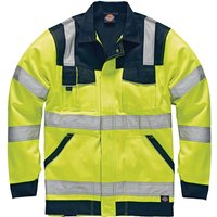 Dickies Mens High Vis Industry Jacket Yellow / Navy 3XL